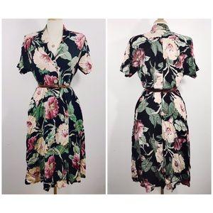 Vintage floral midi v-neck collared button dress